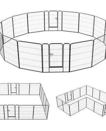 16 eckig Welpenauslauf Metall Laufstall Zaun Gitter Welpen Hasen Kaninchen Freigehege mit 2 Tür