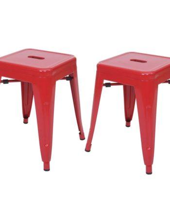 2x Hocker Hwc-A73, Metallhocker Sitzhocker, Metall Industriedesign stapelbar ~ rot