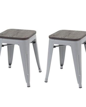 2x Hocker Hwc-A73 inkl. Holz-Sitzfläche, Metallhocker Sitzhocker, Metall Industriedesign stapelbar ~