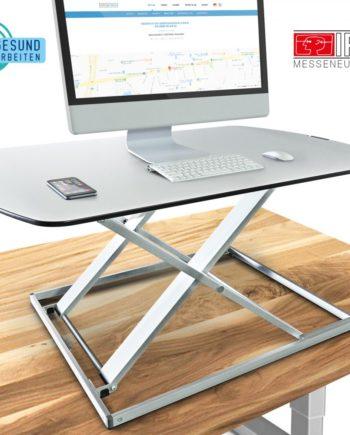 3in1 höhenverstellbarer Schreibtisch-Aufsatz 80cm, stufenlose Pneumatik, Df50 Monitorständer weiß