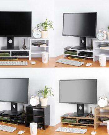 Bildschirmerhöhung Monitorerhöhung Monitorständer mit Regal 3 Farbe aus Holz TOP