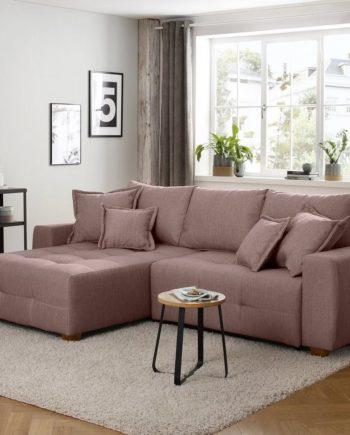 Home affaire Ecksofa, mit Bettfuntion und Bettkasten, mit Federkern, Landhaus-Stil, rosa