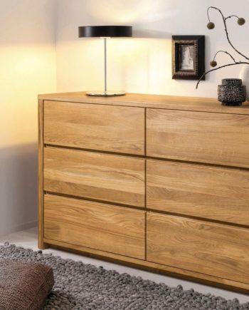 andas Kommode, 140x44x78 cm, FSC®-zertifiziert, Material Massivholz / Eiche