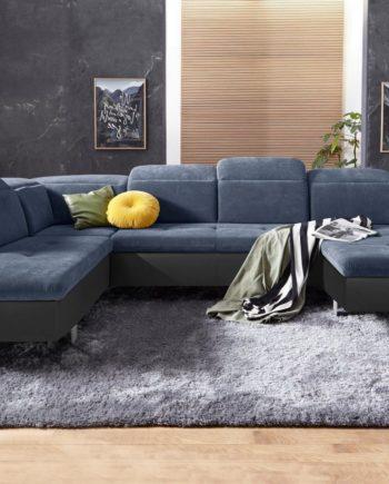 exxpo - sofa fashion Wohnlandschaft, mit Bettfunktion, Ottomane links, FSC®-zertifiziert, schwarz, mit Schlaffunktion, mit Kopfstütze