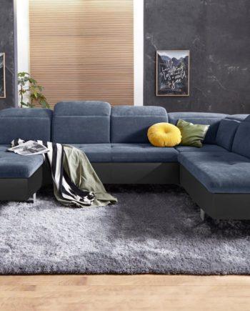exxpo - sofa fashion Wohnlandschaft, mit Bettfunktion, Ottomane rechts, FSC®-zertifiziert, schwarz, mit Schlaffunktion, mit Kopfstütze