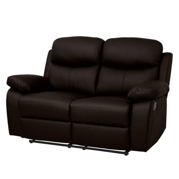 home24 Modoform Relaxsofa Tetchill 2-Sitzer Dunkelbraun Kunstleder 153x101x91 cm