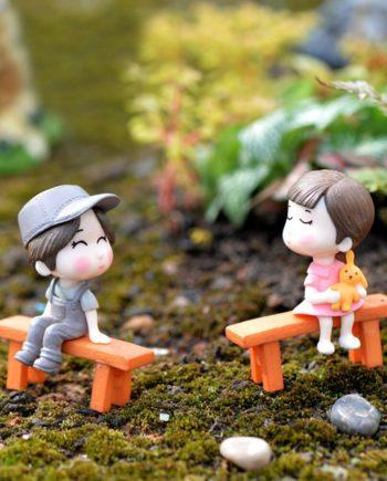 1 Set Nette Liebhaber Stuhl Miniatur Landschaft Garten Puppe Spielzeug DIY Ornament Garten Puppenh