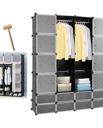 16 Würfel Regalsystem Kleiderschrank DIY Garderobenschrank Schwarz Kunststoff Aufbewahrung