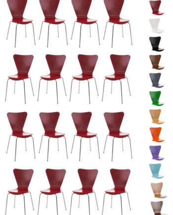 16 x Konferenzstuhl Calisto mit Holzsitz und stabilem Metallgestell I 16 x platzsparender Stuhl