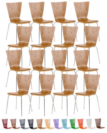 16 x Stapelstuhl Aaron Mit Holzsitz Und Metallgestell I 16 x Stuhl Mit pflegeleichter