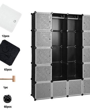 20 Würfel Regalsystem Kleiderschrank Schwarz Kunststoff Garderobenschrank DIY einfach