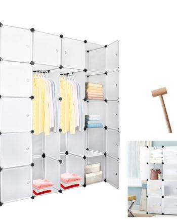 20 Würfel Weiß Regalsystem Kleiderschrank Kunststoff DIY Garderobenschrank mit Türen