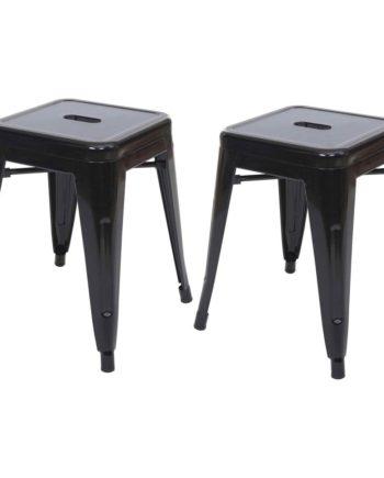 2x Hocker Hwc-A73, Metallhocker Sitzhocker, Metall Industriedesign stapelbar ~ schwarz