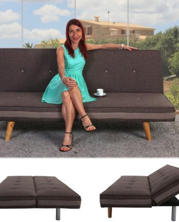 3er-Sofa Herstal, Couch Schlafsofa Gästebett Bettsofa ~ Textil, braun