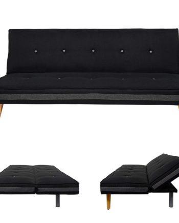 3er-Sofa Herstal, Couch Schlafsofa Gästebett Bettsofa ~ Textil, schwarz