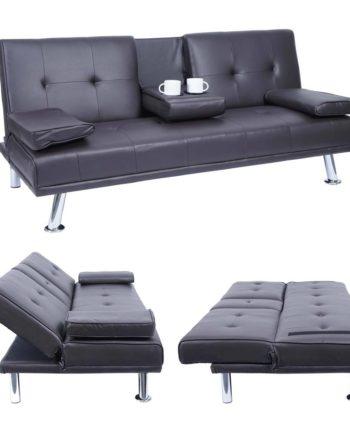 3er-Sofa Hwc-F60, Couch Schlafsofa Gästebett, Tassenhalter verstellbar 97x166cm ~ Kunstleder, braun