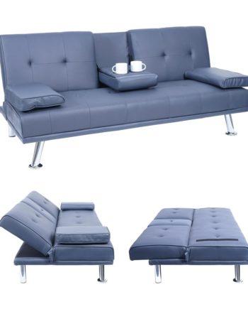 3er-Sofa Hwc-F60, Couch Schlafsofa Gästebett, Tassenhalter verstellbar 97x166cm ~ Kunstleder, dunkel
