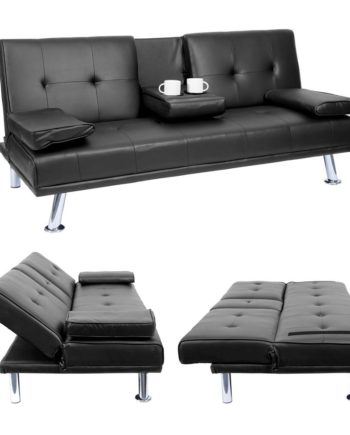 3er-Sofa Hwc-F60, Couch Schlafsofa Gästebett, Tassenhalter verstellbar 97x166cm ~ Kunstleder, schwar