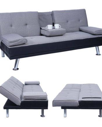 3er-Sofa Hwc-F60, Couch Schlafsofa Gästebett, Tassenhalter verstellbar 97x166cm ~ Kunstleder/Textil,