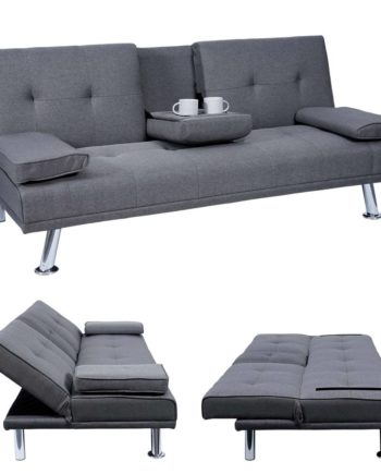 3er-Sofa Hwc-F60, Couch Schlafsofa Gästebett, Tassenhalter verstellbar 97x166cm ~ Textil, dunkelgrau