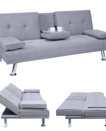 3er-Sofa Hwc-F60, Couch Schlafsofa Gästebett, Tassenhalter verstellbar 97x166cm ~ Textil, hellgrau