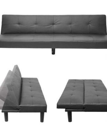 3er-Sofa Hwc-G11, Couch Schlafsofa Gästebett Bettsofa Klappsofa, Schlaffunktion 195cm ~ Kunstleder,