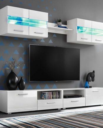 5-tlg. TV-Wohnwand-Set mit LED-Leuchten Hochglanz-Weiß