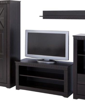 Wohnwand, 4er Set, Landhaus-Stil, FSC®-zertifiziert, braun, Material Kiefer