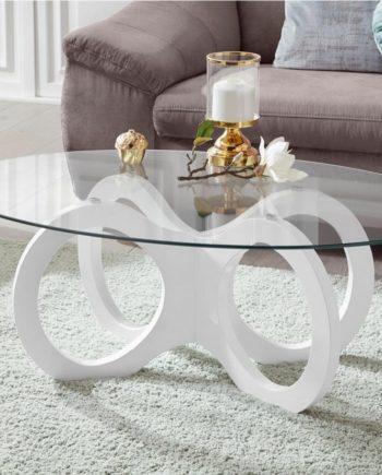 Couchtisch, weiß, Material Glas, oval, Hochglanz