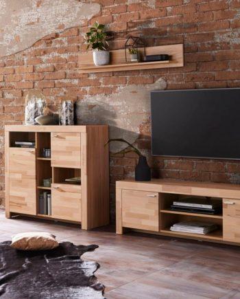 Wohnwand, 3er Set, FSC®-zertifiziert, beige, Material Massivholz