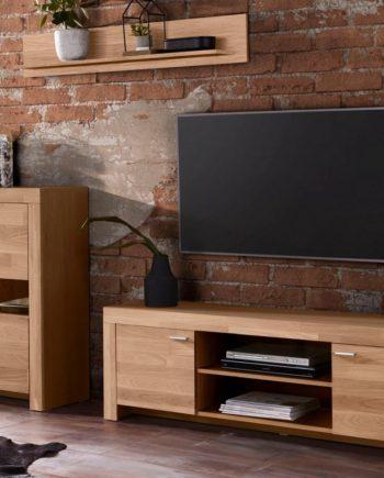 Wohnwand, 3er Set, FSC®-zertifiziert, braun, Material Massivholz