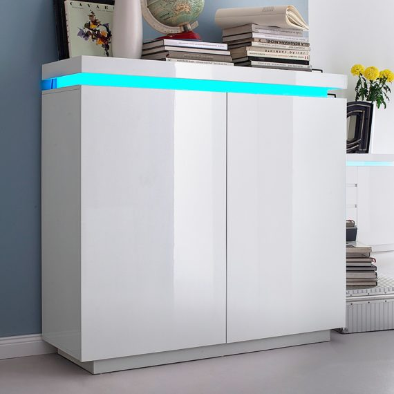home24 Fredriks Kommode Emblaze III Hochglanz Weiß MDF 120x114x40 cm (BxHxT) Modern 2-türig mit Beleuchtung