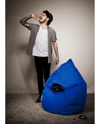 home24 SITTING POINT Sitzsack Bean Bag Brava Dunkelblau Flachgewebe 70x110x70 cm (BxHxT)