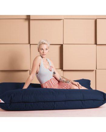 home24 SITTING POINT Sitzsack Big Bag Brava XL Jeansblau Flachgewebe 130x170x20 cm (BxHxT)