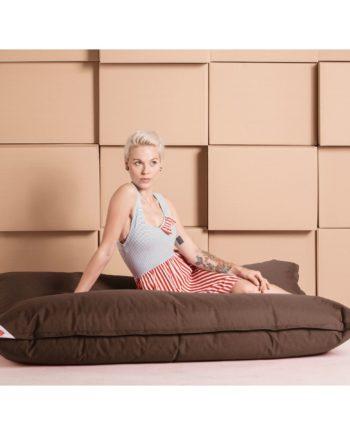 home24 SITTING POINT Sitzsack Big Bag Brava XL Latte Macchiato Flachgewebe 130x170x20 cm (BxHxT)