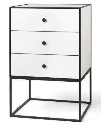 Frame 49 Beistelltisch mit drei Schubladen weiß