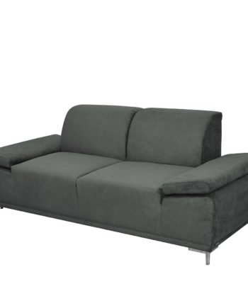 home24 Modoform Sofa Tyner 3-Sitzer Anthrazit Flachgewebe 210x82x89 cm