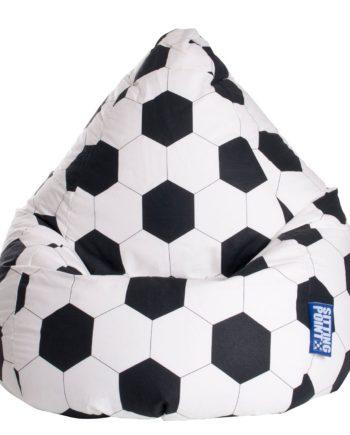 home24 SITTING POINT Sitzsack Bean Bag Fussball Weiß/Schwarz Baumwollstoff 70x90x70 cm (BxHxT)