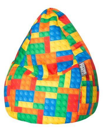 home24 SITTING POINT Sitzsack BeanBag Bricks L Mehrfarbig Webstoff 70x90x70 cm (BxHxT)