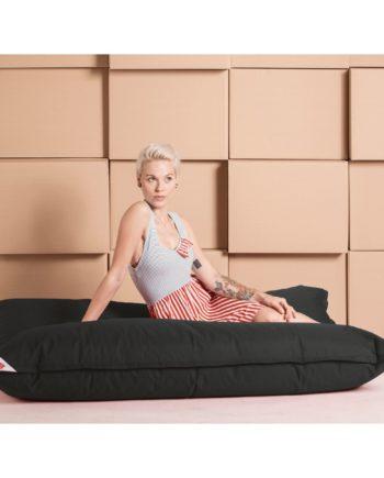 home24 SITTING POINT Sitzsack Big Bag Brava XL Schwarz Flachgewebe 130x170x20 cm (BxHxT)