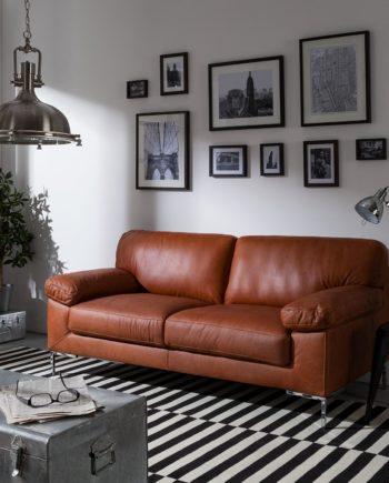 home24 ars manufacti Sofa Parlin 2,5-Sitzer Cognac Echtleder 185x82x95 cm (BxHxT) Industrial